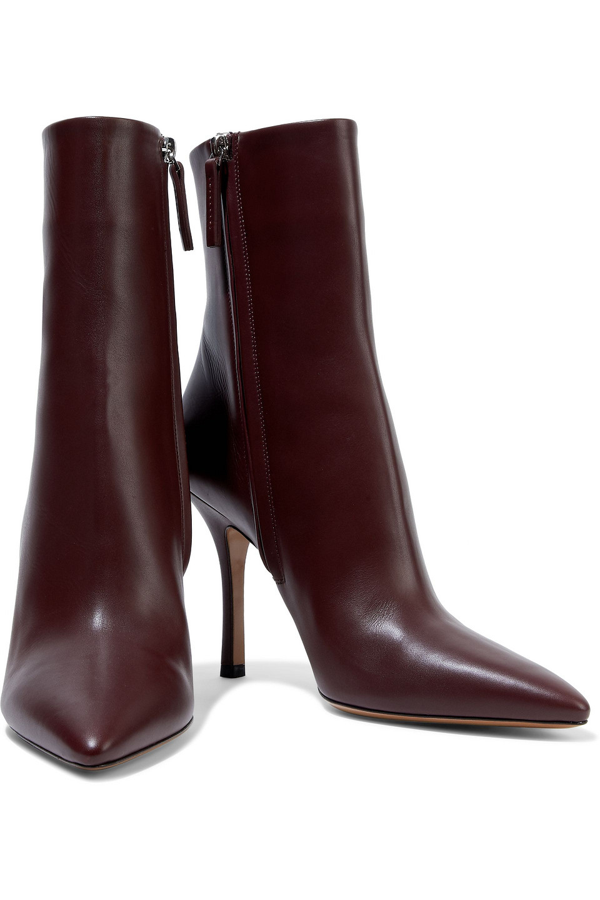 The Row Gloria Leather Ankle Boots In Burgundy