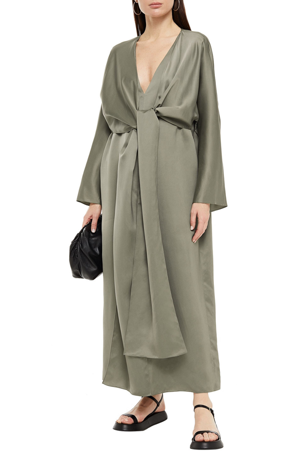 The Row Clementine Tie-front Cupro Maxi Dress In Grey Green