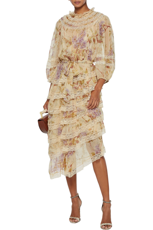 Zimmermann Sabotage Tiered Lace-trimmed Floral-print Silk-chiffon Midi Dress In Sand