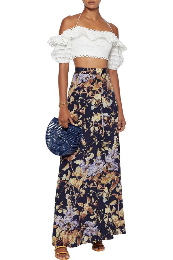 Zimmermann Sabotage Floral-print Silk-blend Crepe De Chine Maxi Skirt In Midnight Blue