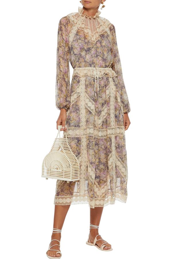 Zimmermann Sabotage Flocked Tulle-paneled Floral-print Silk-gauze Midi Dress In Beige