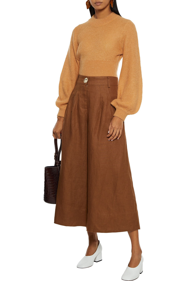 Nicholas Varca Pleated Linen Culottes In Brown