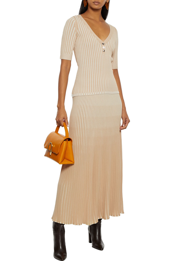 Nicholas Epices Ribbed-knit Top In Beige