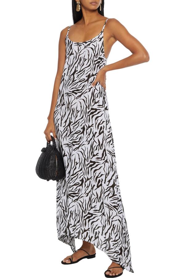 Onia Elise Asymmetric Zebra-print Voile Maxi Dress In Off-white