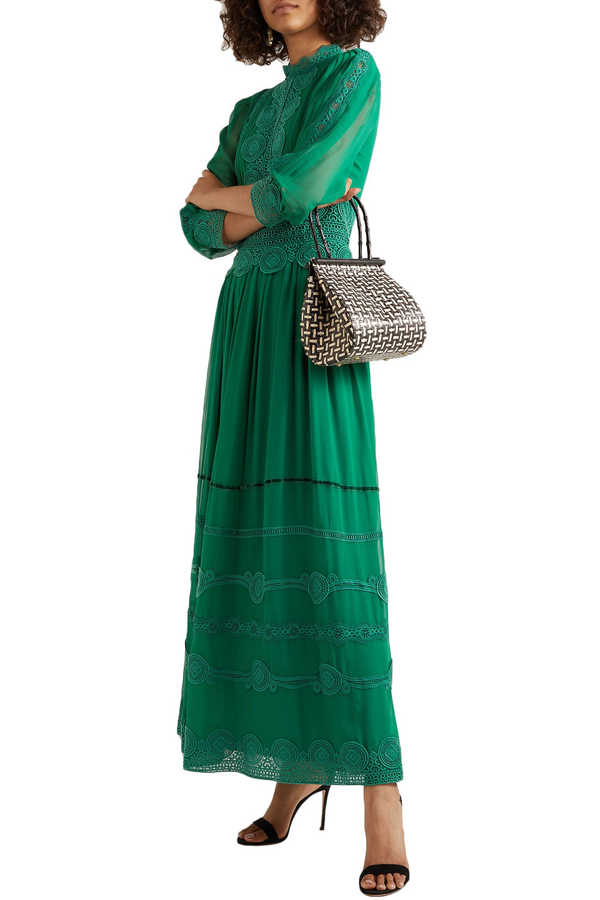Costarellos Velvet-trimmed Embroidered Silk-blend Chiffon Gown In Green