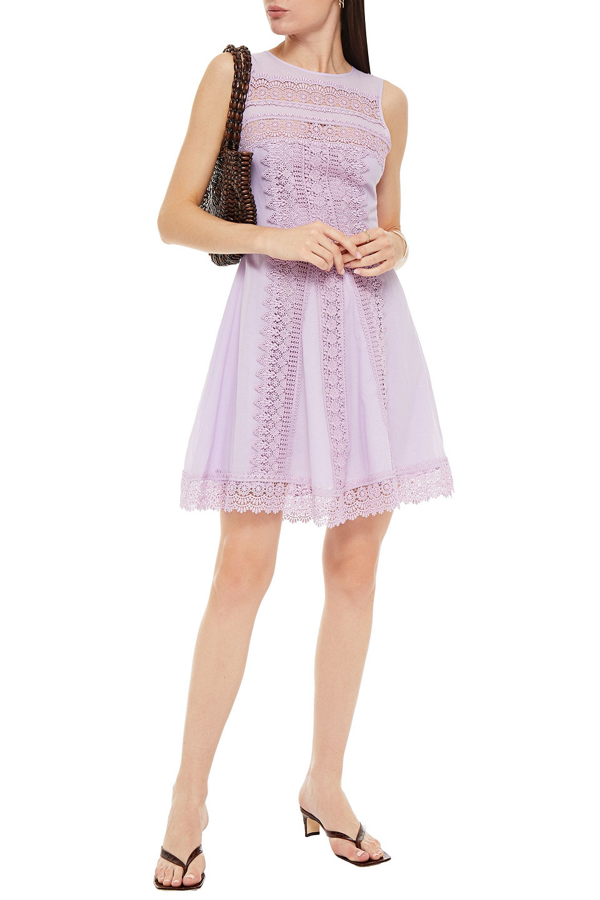 Charo Ruiz Ona Crocheted Lace-trimmed Cotton-blend Voile Mini Dress In Lilac