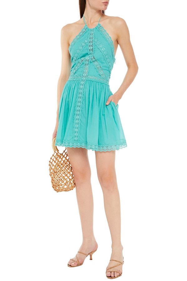 Charo Ruiz Kim Crocheted Lace-trimmed Cotton-blend Voile Halterneck Mini Dress In Turquoise