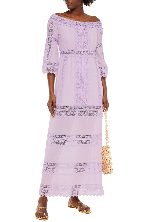 Charo Ruiz Gamma Crocheted Lace-paneled Cotton-blend Voile Maxi Dress In Lilac