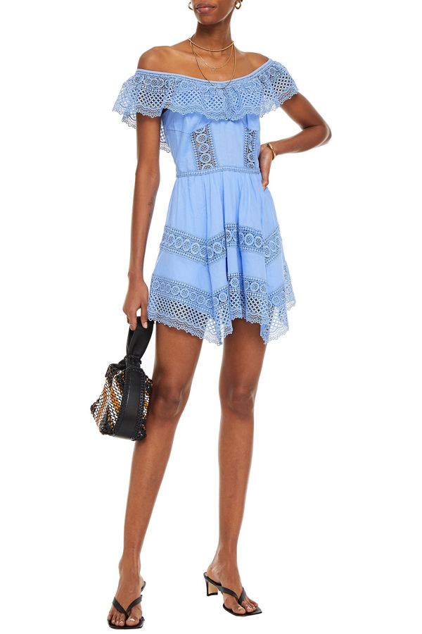 Charo Ruiz Vaina Off-the-shoulder Crocheted Lace-trimmed Cotton-blend Voile Mini Dress In Light Blue