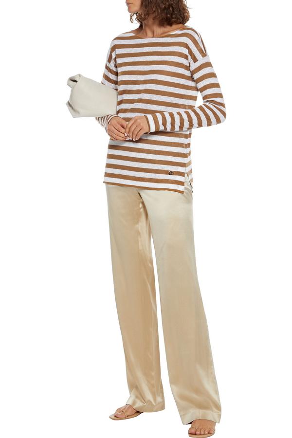Loro Piana Striped Slub Flax-jersey Top In Light Brown