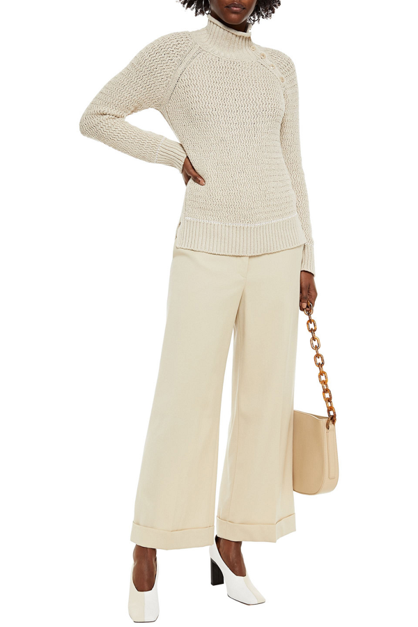 Loro Piana Cotton And Cashmere-blend Turtleneck Sweater In Beige