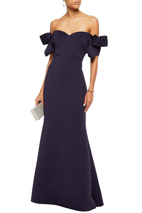 Badgley Mischka Off-the-shoulder Bow-embellished Scuba Gown In Navy