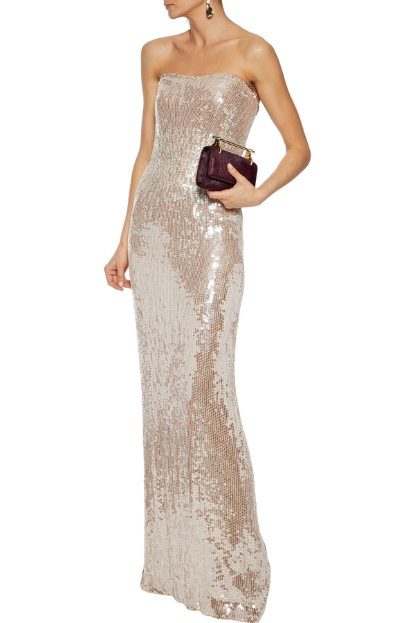 Jenny Packham Strapless Embellished Tulle Gown In Blush