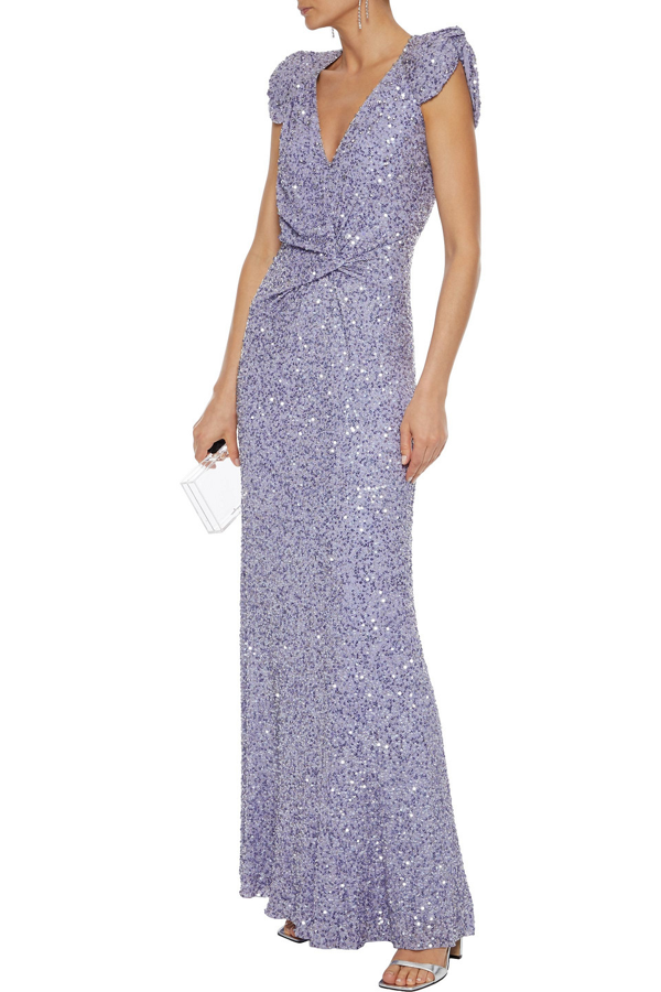 Jenny Packham Twisted Embellished Chiffon Gown In Lavender