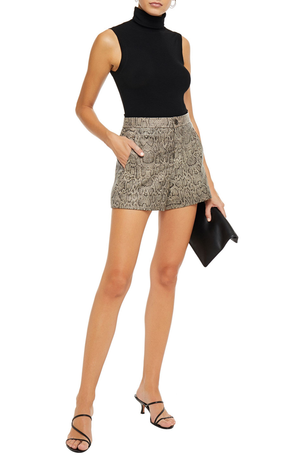 Joie Abreal Snake-print Leather Shorts In Animal Print