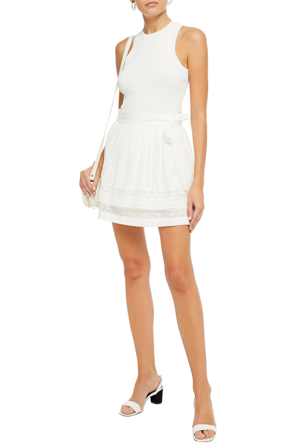 Joie Amerie Tiered Belted Fil Coupé Cotton-voile Mini Skirt In Off-white