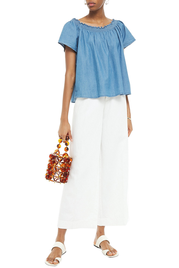 Joie Amesti B Off-the-shoulder Shirred Cotton-chambray Top In Mid Denim