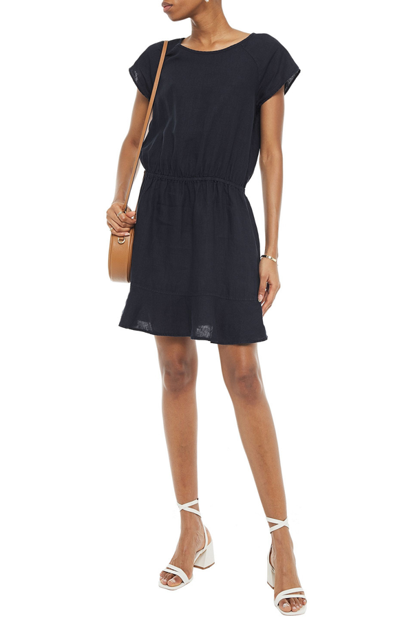 Joie Quora Fluted Linen Mini Dress In Midnight Blue