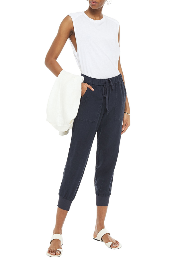 Joie Mellina Cropped Linen Tapered Pants In Midnight Blue