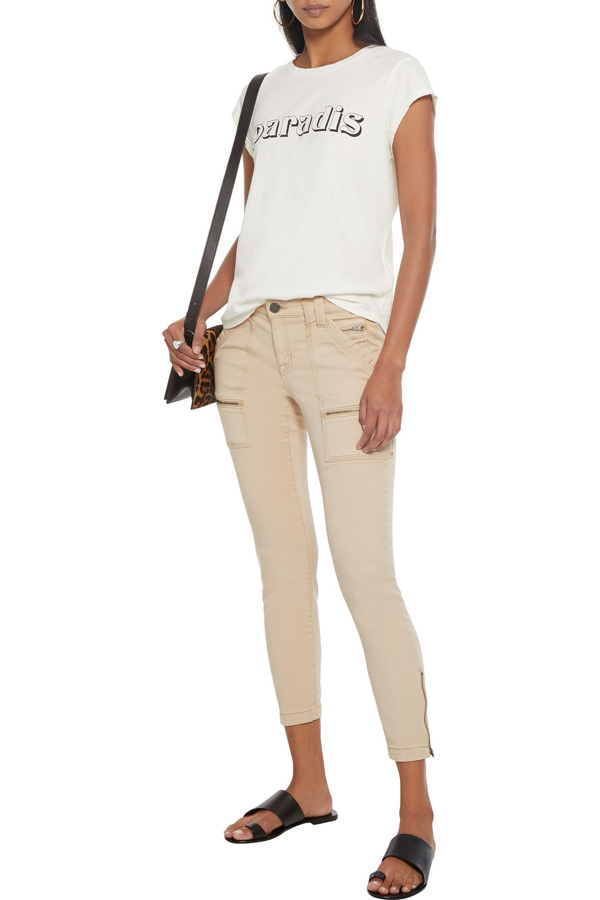 Joie Park Cropped Cotton-blend Twill Skinny Pants In Beige