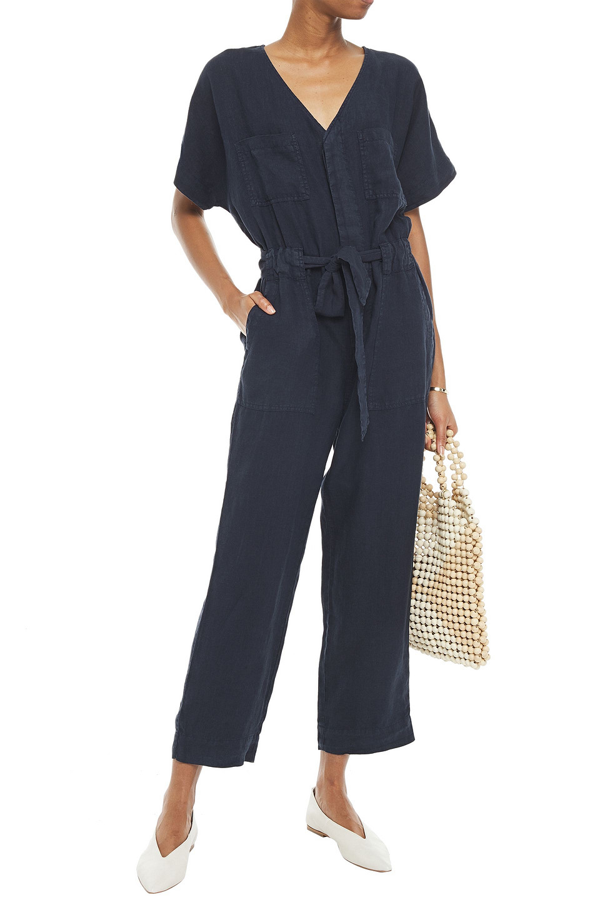 Joie Frodina Belted Linen Jumpsuit In Midnight Blue