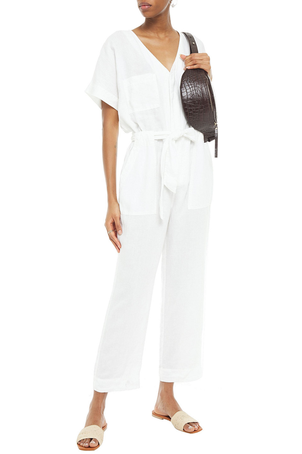 Joie Frodina Belted Linen Jumpsuit In Off-white