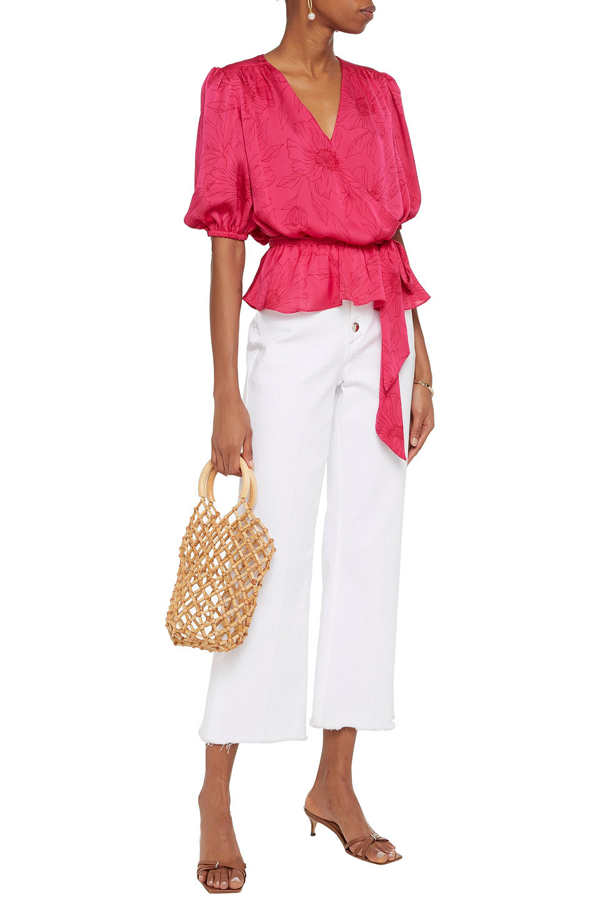 Joie Macie Wrap-effect Gathered Floral-print Satin Blouse In Fuchsia