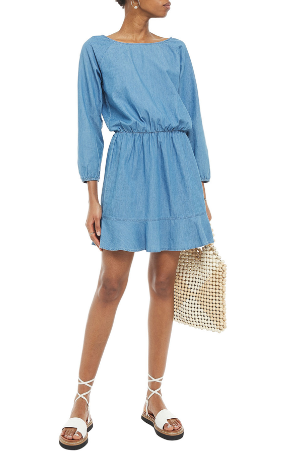 Joie Arryn B Fluted Cotton-chambray Mini Dress In Mid Denim