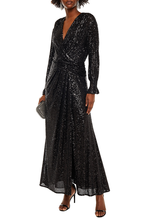 Jonathan Simkhai Wrap-effect Sequin-embellished Stretch-tulle Gown In Black