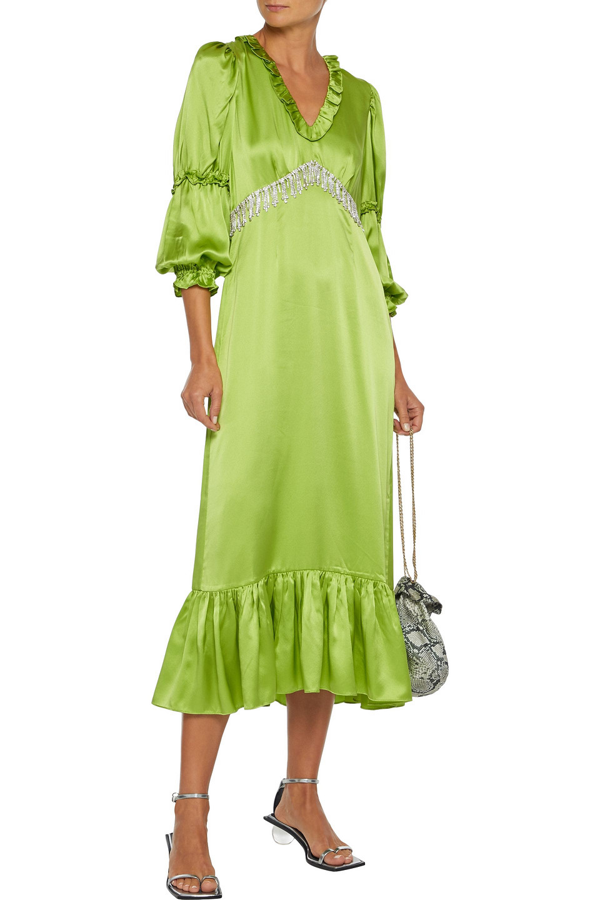 Shrimps Rosemary Ruffle-trimmed Floral-print Lamé Midi Dress In Lime Green