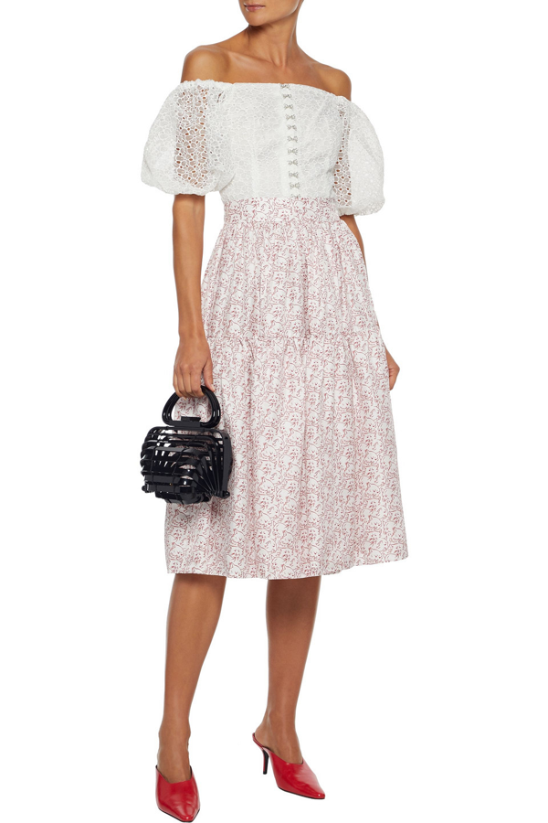 Shrimps Ray Gathered Printed Silk-twill Skirt In White