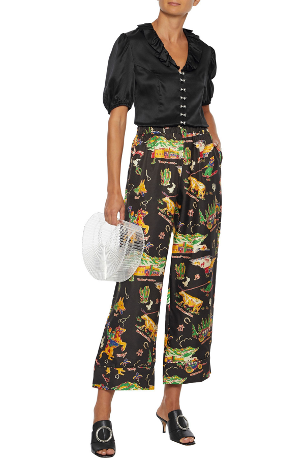 Shrimps Alma Cropped Printed Silk-twill Wide-leg Pants In Black