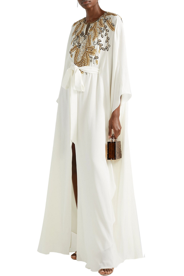 Marchesa Belted Embellished Draped Silk Crepe De Chine Gown In Ivory