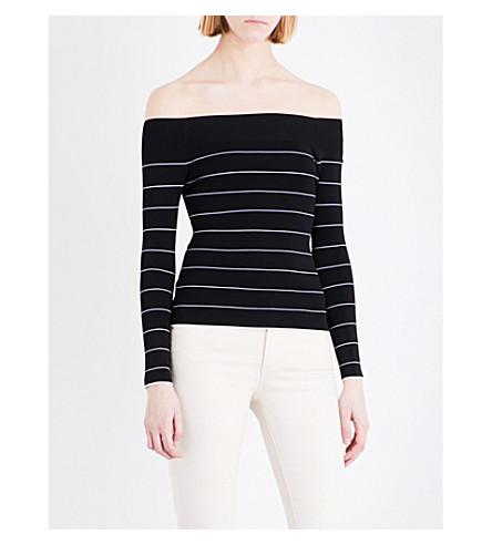 Whistles Bardot Striped Knitted Sweater In Black