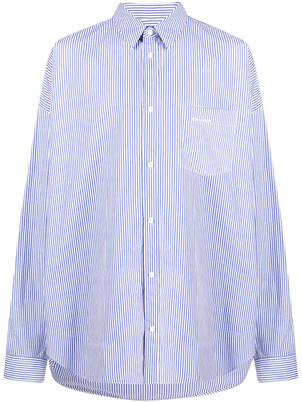 Balenciaga Cocoon Oversized Striped Shirt In Blue