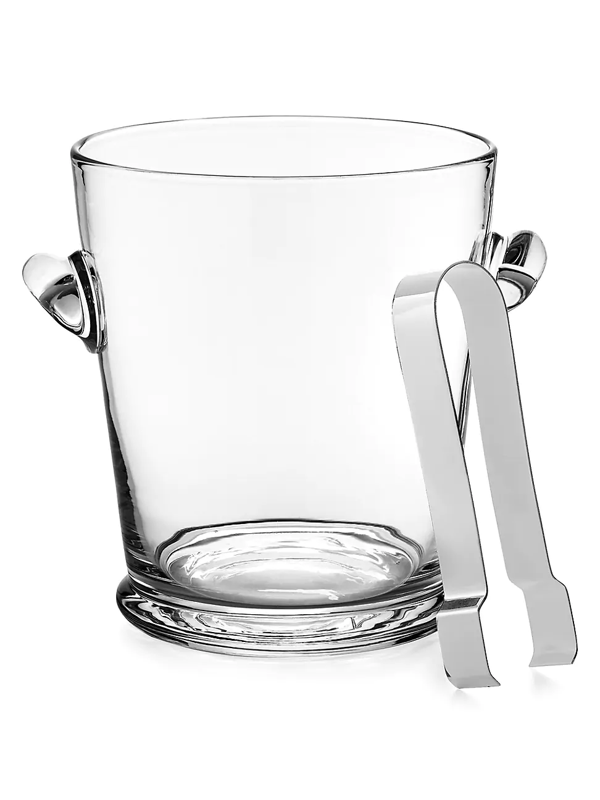 Ralph Lauren Ethan Glass Ice Bucket And Tongs In White