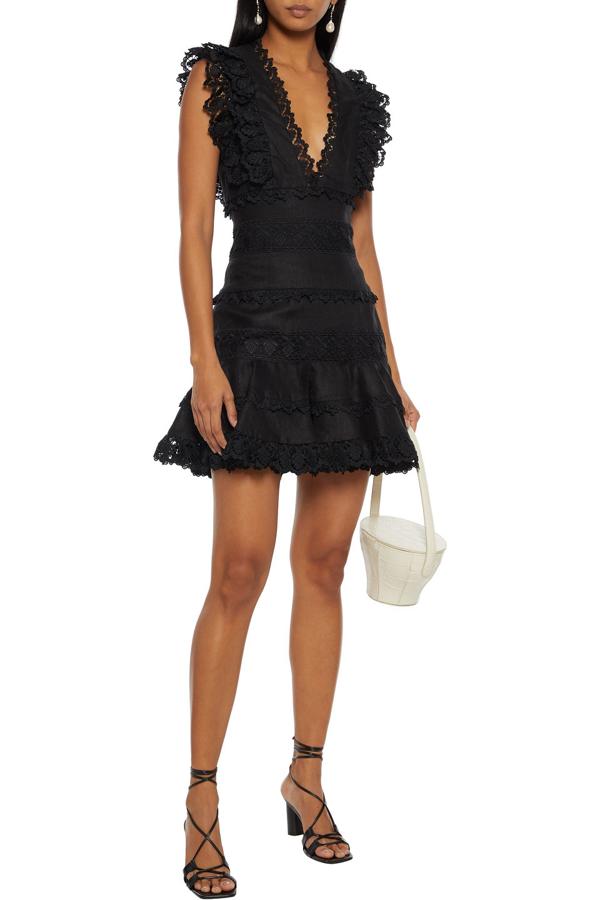 Zimmermann Wayfarer Ruffled Guipure Lace-trimmed Linen Mini Dress In Black