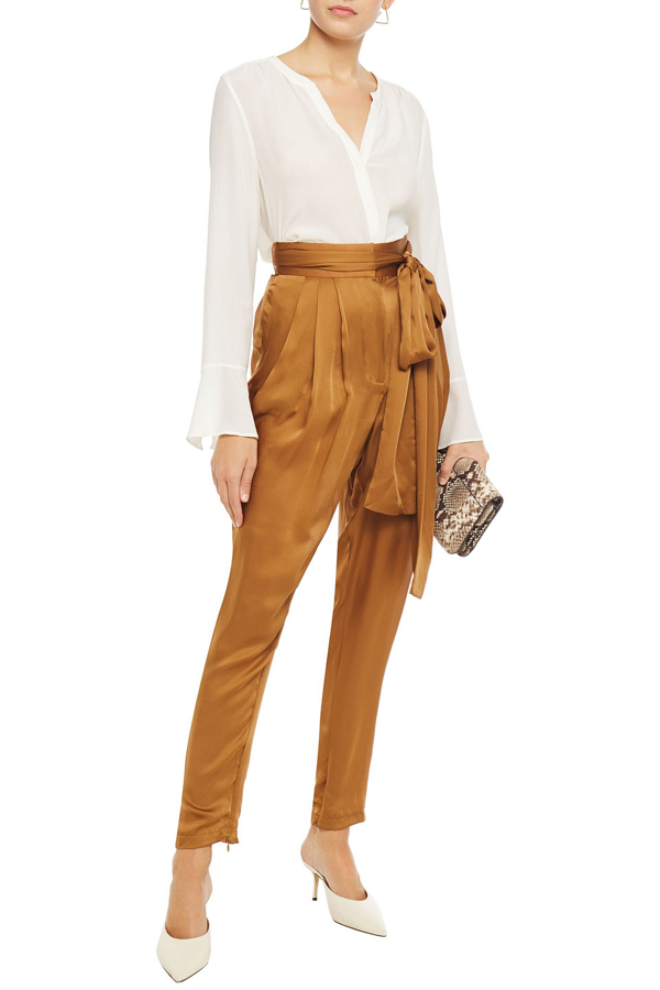 Zimmermann Resistance Belted Silk Tapered Pants In Light Brown
