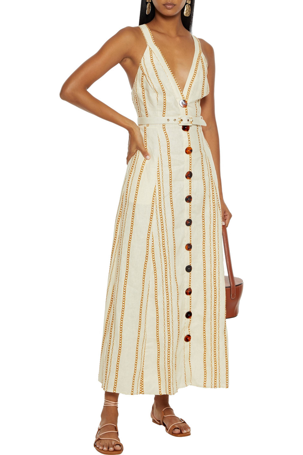Nicholas Yasmine Belted Printed Linen Maxi Dress In Ivory