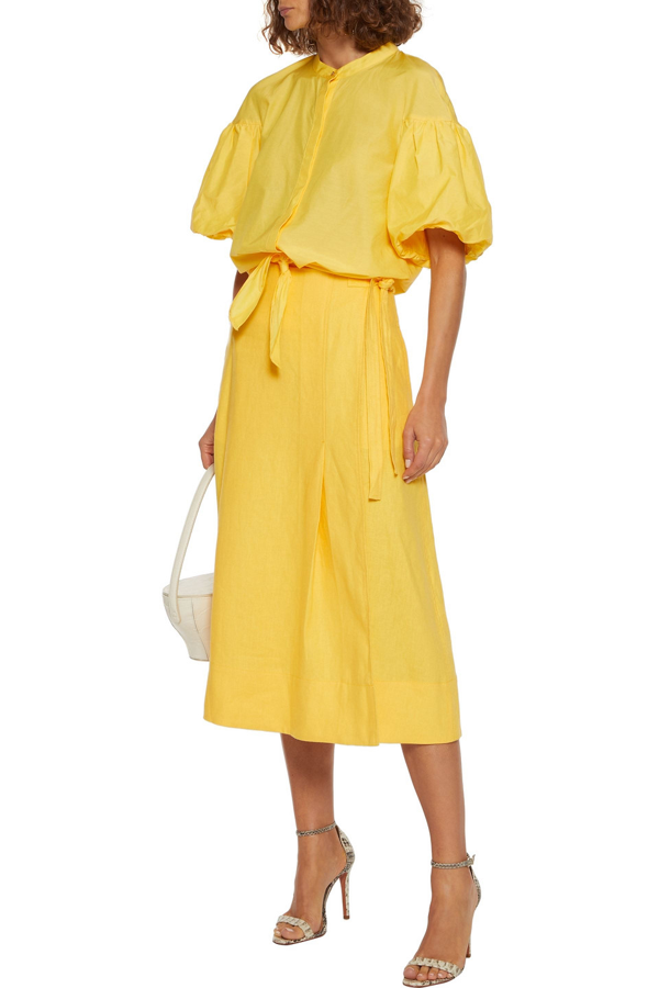 Nicholas Alina Tie-front Cotton And Silk-blend Top In Yellow