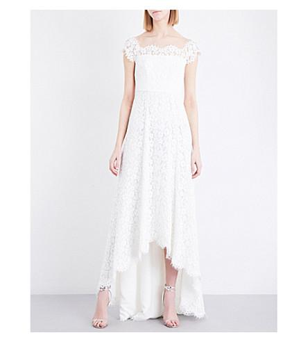 Whistles Rose Off-The-Shoulder Floral-Lace Wedding Dress In Cream