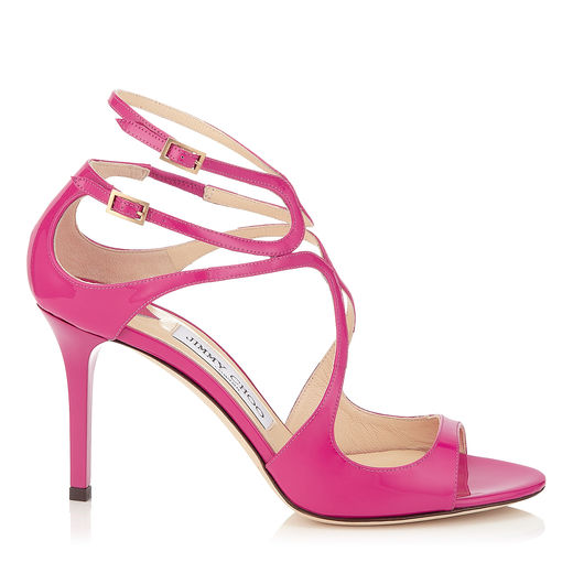 Jimmy Choo Lance Raspberry Neon Patent Strappy Sandals In Jazzberry
