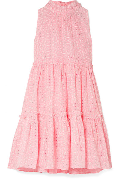 Lisa Marie Fernandez Erica Ruffled Broderie Anglaise Cotton Mini Dress In Baby Pink