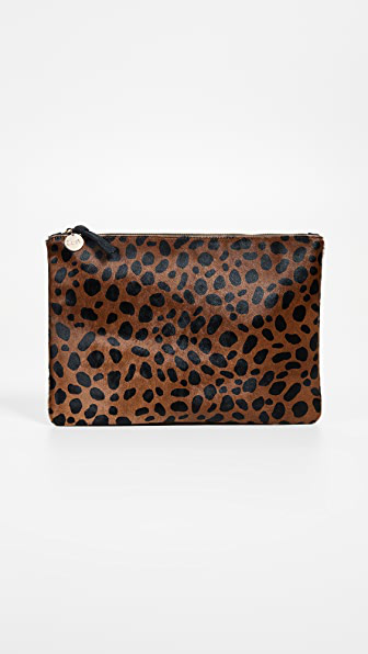 Clare V Genuine Calf Hair Leopard Print Zip Clutch - Beige