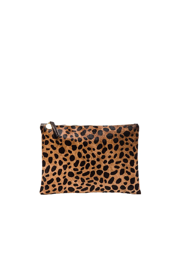 bac3e48b6bb7 Clare V Genuine Calf Hair Leopard Print Zip Clutch - Beige | ModeSens