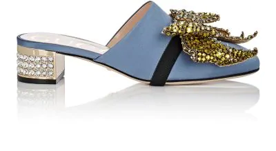 91e15c74bf4 Gucci Candy Bow-Embellished Low-Heel Mule In Blue
