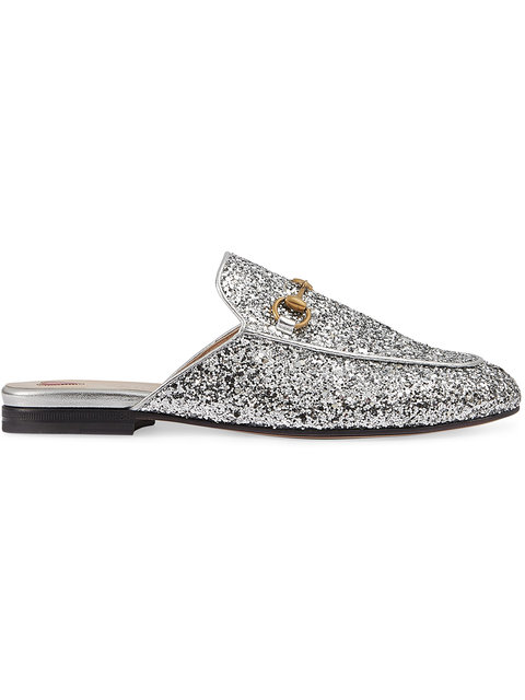 Gucci Princetown Horsebit-Detailed Glittered Leather Slippers In Grey