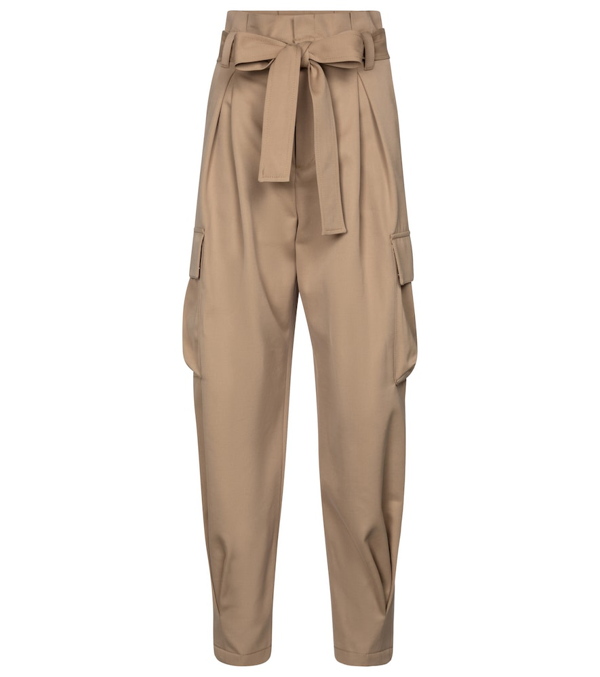 Red Valentino Cargo Cotton And Wool Pants In Beige