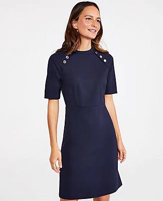 Ann Taylor Petite Shoulder Button Ponte Dress In Night Sky