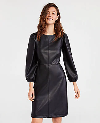Ann Taylor Petite Seamed Faux Leather Flare Dress In Black